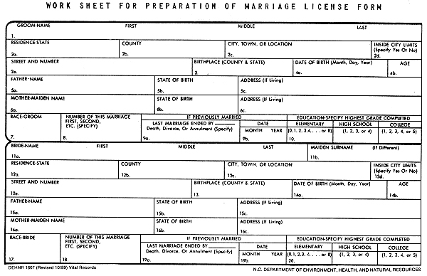 Copy Of Marriage License Request Form For A Confidential: Nc Marriage License, Keith Boyce, Reverse Address Lookup